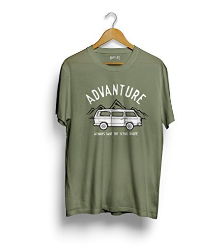 VW T3 Van t-shirt - Volkswagen Transporter tee Advanture, take the panorama straße Reisemobil tee Grün