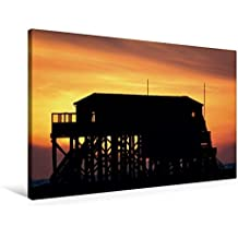 Premium Textil-Leinwand 90 cm x 60 cm quer, Sankt Peter Ording   Wandbild, Bild auf Keilrahmen, Fertigbild auf echter Leinwand, Leinwanddruck: Sonnenuntergang (CALVENDO Natur)