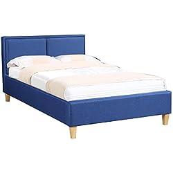 CARO-Möbel Polsterbett Anais Bettgestell Einzelbett 120x200 cm Designbett inklusive Lattenrost, Stoffbezug in blau