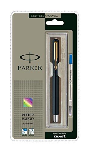 Parker Vector Standard Rollerball Gold Trim Pen [Blaue Tinte, schwarz Körper]