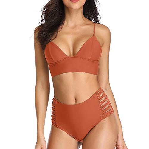 Dixperfect Damen Fashion Zwei stücke Triangel-Bikini-Badeanzug zurück lace up tie Riemchen hoch Taille Bottom klein rost