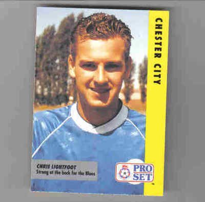 PROSET Pro Set 1991-92 Fixtures Chester City CHRIS LIGHTFOOT football trade card