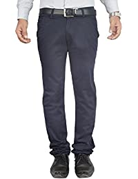 Clivemont Men's Navy Blue Formal Regular Fit Trouser CLBE09