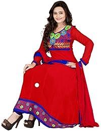 Jheenu Women's Red Georgette anarkali Embroidered Unstitched Dress Material