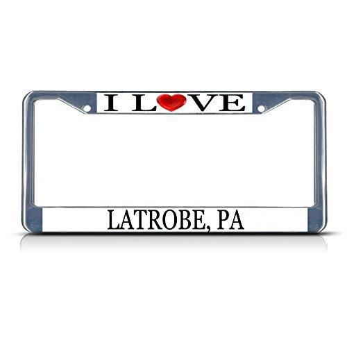 Nummernschild Rahmen I LOVE Herz Latrobe (PA Aluminium Metall Nummernschild Rahmen silber - Latrobe Pa