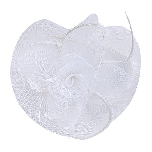 Andux cappello copricapo cerimonia copricapo donna per sposa halloween cocktail cerimonia msts-01 (blanc)