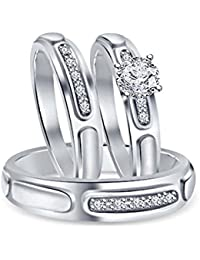 Silvernshine 1.50 Ct Solitaire Diamond 14k White Gold GP His & Her Men Womens Trio Ring Set