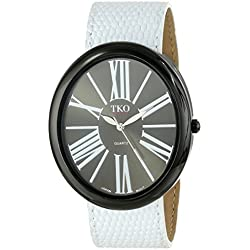 TKO ORLOGI Women's TK617-BWT Black Dial White Leather Slap Watch