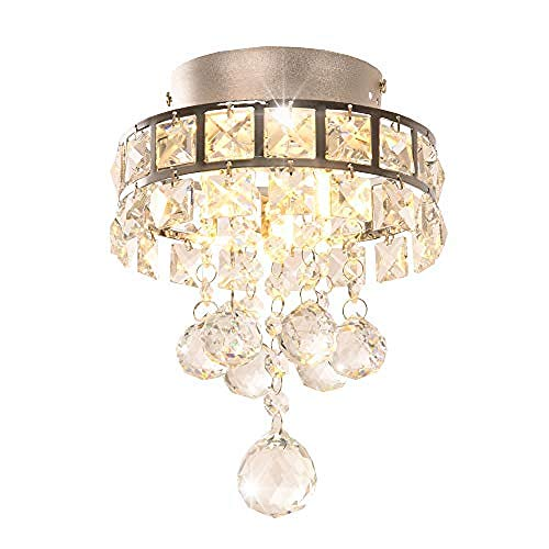 Loft Chandelier Mini Style 3 Light Chrom fertig Kristall Loft Chandelier Loft Chandelier für Flur Schlafzimmer Küche Kinderzimmer Glühbirne enthalten -