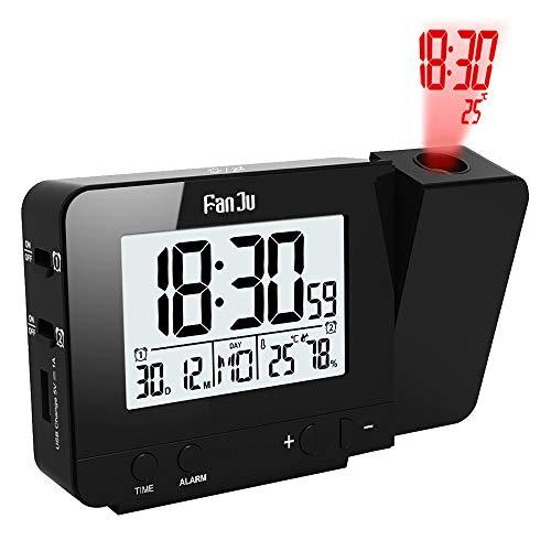 FanJu FJ3531B Digital Projektionswecker mit Temperatur und Zeit-Projektion / USB-Ladegeräte / Innentemperatur und Luftfeuchtigkeit / DCF automatische Zeitanpassung / Kalender / Doppel Alarme mit Snooze-Funktion.