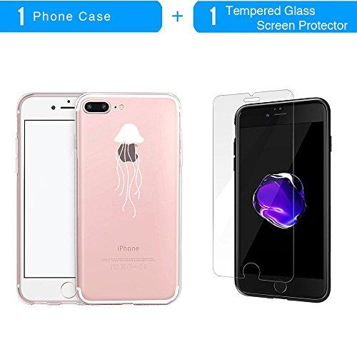 Coque iPhone 7 Plus, TrendyBox Transparent PC Hard Cover avec soft TPU Pare-chocs pour iPhone 7 Plus avec verre trempe film de protection (Fille et Swan) 118