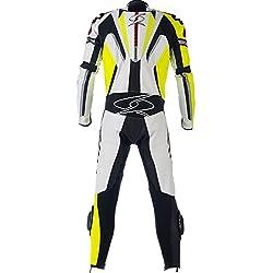 Mono de piel para moto hombres Spyke Blinker RAC traje de una pieza negro/blanco (50, blanco/negro/amarillo fluorescente)