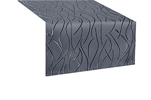 Tischläufer eckig in glänzender Streifenoptik 40x140cm grau, Premium Stoffqualität, Farbe und Größe wählbar, toller Glanz, natürliche Optik und Pflegeleicht