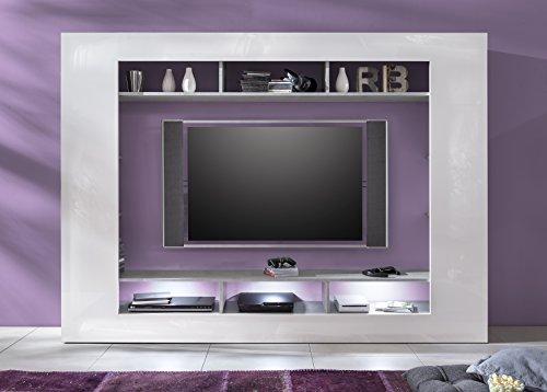 trendteam SD89535 Wohnwand TV Möbel weiss Hochglanz, Beton Industry Nachbildung, BxHxT 216x160x30 cm - 3