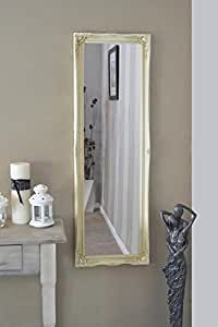 FULL LENGTH IVORY Dressing / Hall Mirror complete with Premium Quality Pilkington's Glass - Overall Size: 49 inches x 16 inches (40cm x 124cm)