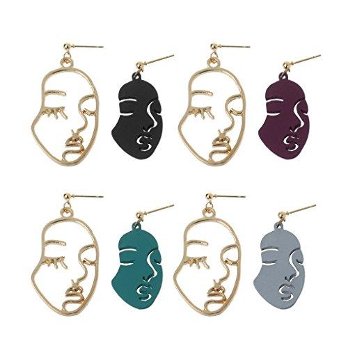 are abstrakte Kunst-Tropfen-Ohrring-Gesichts-Form-Aussage baumeln Ohrringe für Frauen - A# ()