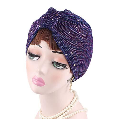 lindahaot Frauen-Polyester-Faser Sequin Indian Hut-Mädchen-Fotografie Turban Cap Frühling Herbst-Winter-Mütze - Mädchen Hut Für Indian