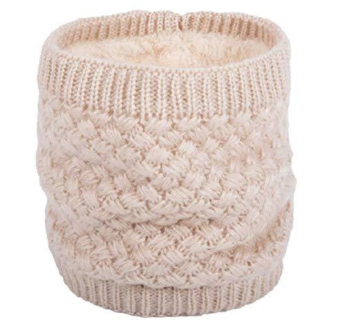 kt Halswärmer Winter Doppelschicht Fleece gefütterte Infinity Schal Circle Schal (Beige) ()