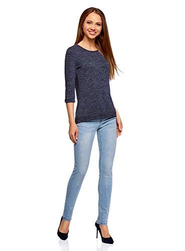 oodji Ultra Damen Sweatshirt mit Rundem Ausschnitt und 3/4 Arm Blau (7900N)