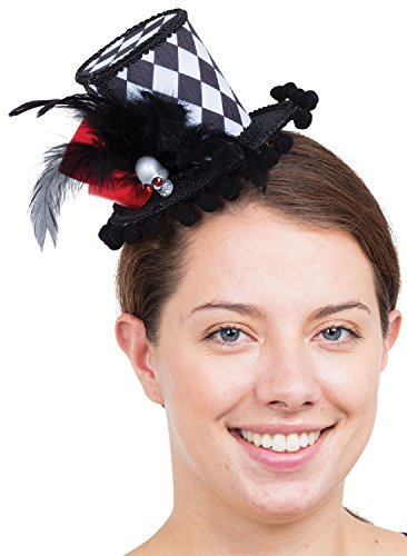 Damen Schwarz Weiß Harlekin kariert Hatter Halloween Hofnarr Kostüm Verkleidung Zubehör Mini Zylinder (Damen Hofnarr Kostüm Kostüm)