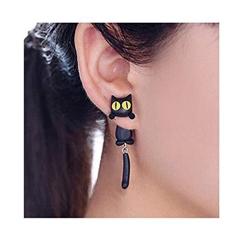 BigNoseDeer Katze Frauen-Bolzen-Ohrringschmucksachen, handgemachter Ohrring für Mensmädchen Kinder-Schwarzes (Schwarz) (Katze Ohr Kostüme)