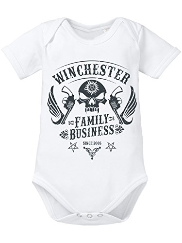 (clothinx Baby Body Unisex Winchester Family Business Weiß Gr. 80-86)