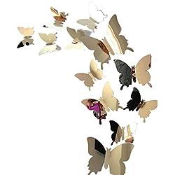 Adesivi frigoriferi KOLY Decalcomanie adesivi da parete Decorazioni a parete di arte a parete 3D di farfalle