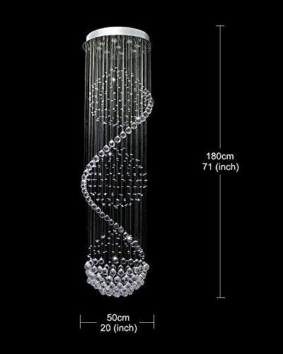 A1A9 Moderner Spiralkugel Kristallleuchter, Spectacular Droplet Deckenleuchte, Klare K9 Kristallkugel Pendelleuchte für Wohnzimmer Eingangsbereich Flur Foyer Romantisches Dekor, Größe: D50cm H180cm