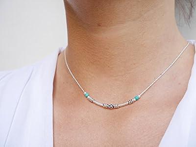 Collier ras du cou argent - chaine serpent argent 925 - perles pierres turquoise - choker argent - collier tube argent ethnique -bijoux boho