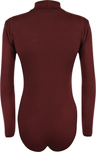 Friendz Trendz FT - Donna Dolcevita Maglione Pullover Body Suit Elastic Leotard Top Vino