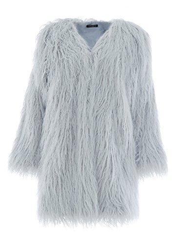Simplee Apparel Damen Faux Fur Jacek Winter Elegant Lang Warm Kunstfell Jacke Mantel Coat Grau (Mantel Faux Pelz Jacke)