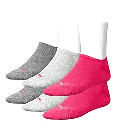 PUMA Unisex Invisible Sneaker Socken Sportsocken Kurz 6er 251025, Sockengröße:35-38;Artikel:-656 middle grey mel. /