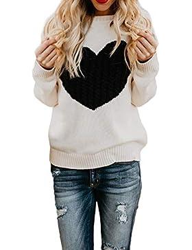 ZORE Mujeres Casual sólido Largo Manga Jersey Amor suéter Suelto Jersey Tops Women Sweater