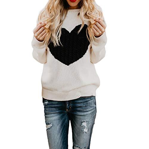 OSYARD Damen Sweater T-Shirt Pullover Sweatshirt, Frauen Beiläufige Hemd Tunika Tops Bluse Pulli Lange Hülsen Liebes Stickerei Lose Strickjacken Oberseiten Strickwaren Warme Cardigan(L, Weiß)