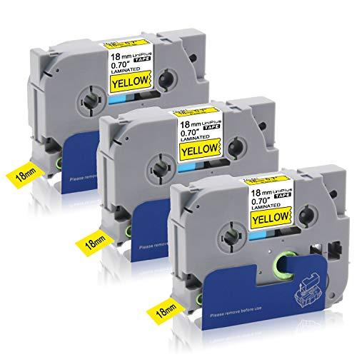 UniPlus 3x Tze641 Tze-641 18mm Nastro Laminato Nastri per Etichette Compatibile per Brother P-Touch PT-D600VP PT-P750W PT-D400 2030VP PT-D450VP PT-E300VP PT-P900W PT-P700, 18 mm x 8 m,Nero su Giallo