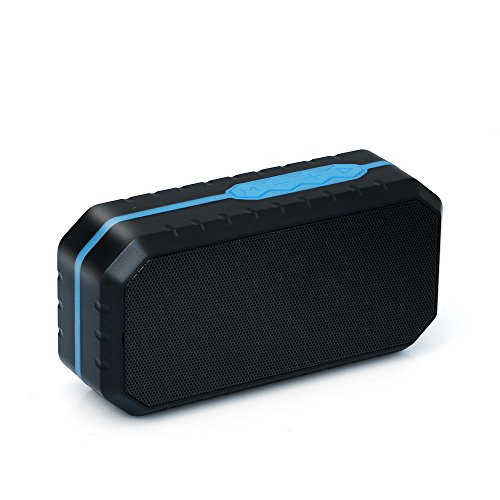 Juârez Acoustics Mini Beast JAB200 Bluetooth v4.1 Wireless Portable IPX7 Waterproof Stereo Outdoor Speakers with 3.5mm AUX-in, USB, MicroSD, Black/Blue