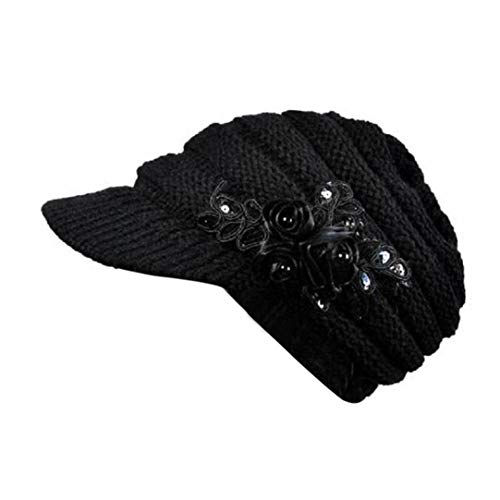 Korean Version Of The New Autumn And Winter Ladies Hat Brim Sequin Applique And Tide Knitted Wool Cap (black)