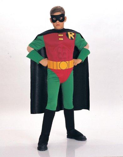 Robin Superheld Kostüm mit Muskelpolsterung Fasching Karneval Verkleidung Small - ()