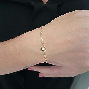 14K Echtes Gold Sonne verziert Winzige zierliche zarte Charme, erste und trendige Armband Der beste Weg zu sagen, Sie…