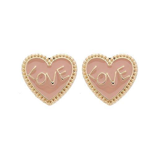 """rimchen® Ohrstecker Modeschmuck """"Herz mit Love"""" Farbe: Gold Rosa"""
