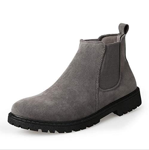 Hombres Vintage Suede Botas Casuales Punta Estrecha Tobillo Masculino Martin Botas Invierno Retro Zapatos