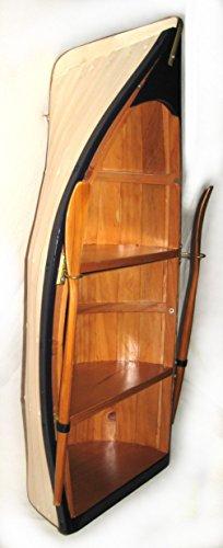 Maritimes Regal in Bootsform Holz mit Paddeln teilweise bemalt