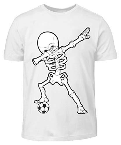 Dabbing Skelett mit Fussball Dab Gerippe Tanz Geschenk - Kinder T-Shirt -3/4 (98/104)-Weiß