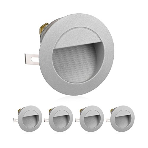 parlat LED Treppen-Licht Wand-Einbauleuchte für außen, rund, warm-weiß, 230V, 5 STK.