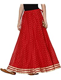 Srishti By Fbb Gold Print Skirt with Lace