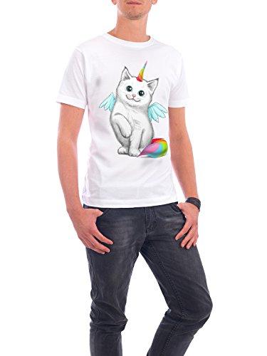 """Design T-Shirt Männer Continental Cotton """"Cat unicorn"""" - stylisches Shirt Tiere Natur Fiktion von Nikita Korenkov Weiß"""