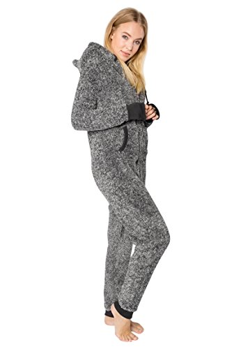 EIGHT2NINE Damen Jumpsuit aus kuscheligem Teddy Fleece | Overall | Ganzkörperanzug mit Ohren dark-grey L/XL