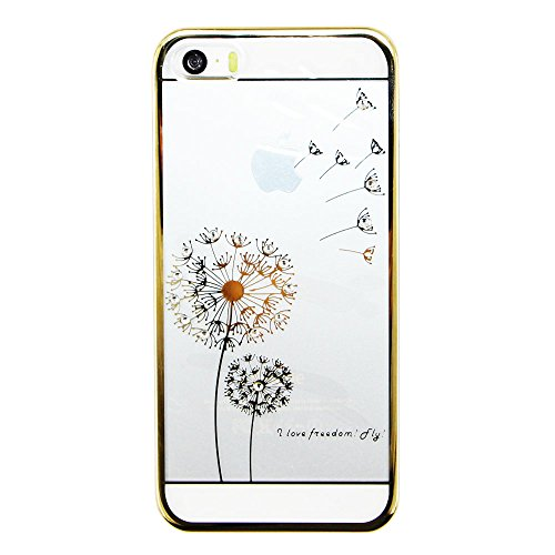 iPhone 6S Coque ,iPhone 6 Coque, EMAXELERS Transparente Hard Clear Plating PC Etui Rose Dandelion Motif Sparkles Bling Crystal Case Coque Etui Protection Pochettes Back Cover pour Apple iPhone 6/6S -- Gold Dandelion