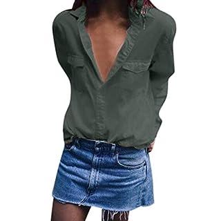 Yvelands Damen Bluse Lässige Feste Lange Ärmel Umlegekragen Taschen Button Front Shirt Tops(Armeegrün,XL)