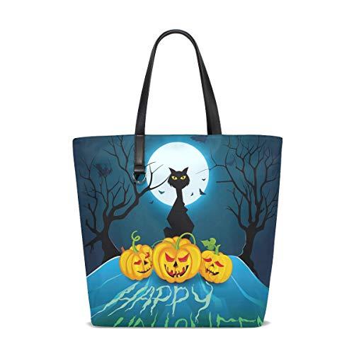 Halloween-Katze-Kürbis-Schläger-Einkaufstasche-Geldbeutel-Handtasche für Frauen-Mädchen
